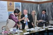 "BOOK LAUNCH ""Revisiting Contemporary South Asia"", IIC, New Delhi, India, Chief guest Dr. Chandan Mitra, Prof. Dr. Klaus Lange, Prof. Dr. Klara Knapp, Dr. Jagannath Panda, editors"